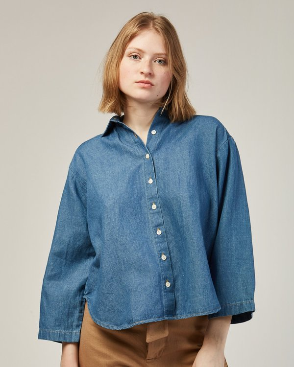 Micaela Greg Tie Back Shirt  In Blue