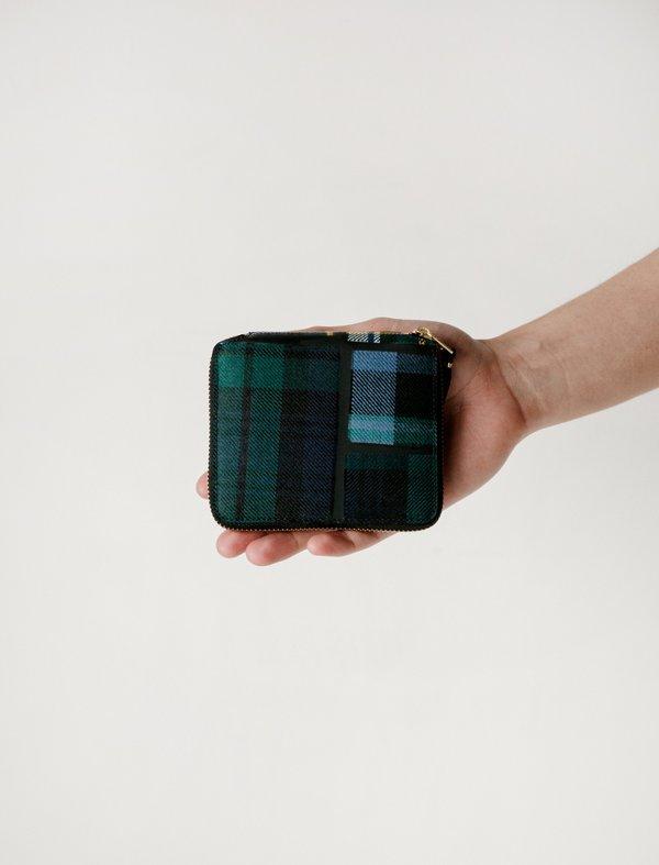 Comme des Garçons Green Tartan Patchwork Full Zip Wallet - SA2100TP