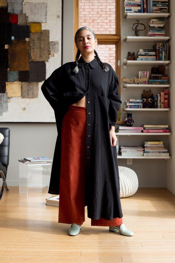 Sunja Link Oversize Shirt Dress - Black
