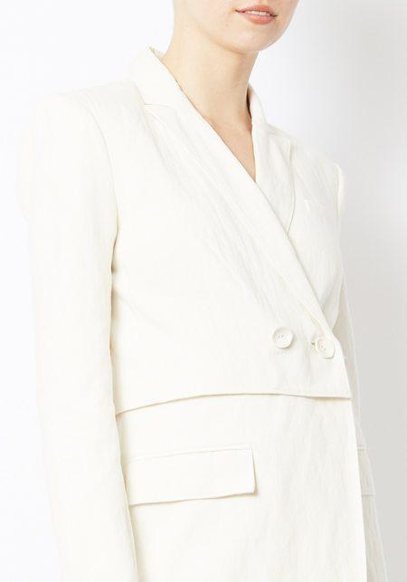 Tibi Cream Delancey Flap Blazer - Cream