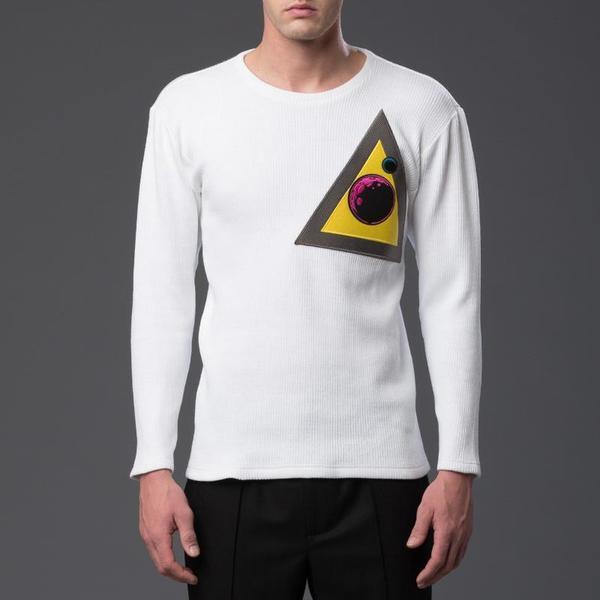 N-p-Elliott Triangle Patch Long Sleeve Shirt - White