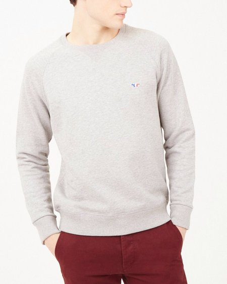 Maison Kitsune Tricolor Fox Sweatshirt - Heather Grey