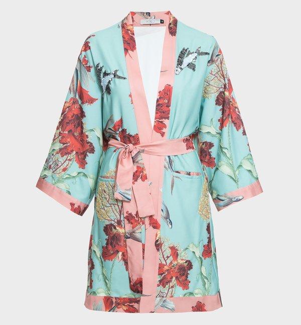 PatBO Hand-Embellished Flying Fish Kimono - LIGHT BLUE / BLUSH