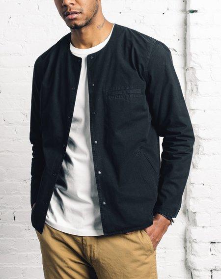 Folk Collarless Pop Stud Shirt - Washed Black