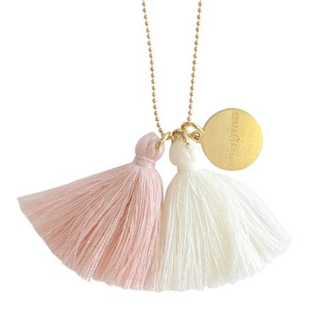 "Atsuyo Et Akiko Imagine Jewellery Necklace 22"" Gold Filled Chain - Ivory and Pink"