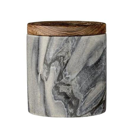 Bloomingville Marble Jar with Mango Wood Lid - Grey