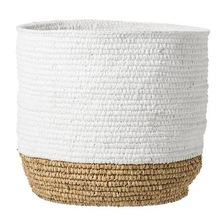 Bloomingville Natural Woven Baskets With White Top Small - White/Natural