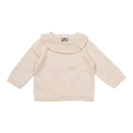Kids Bonton Baby Sweater with Pointelle Detail - Fresh Butter
