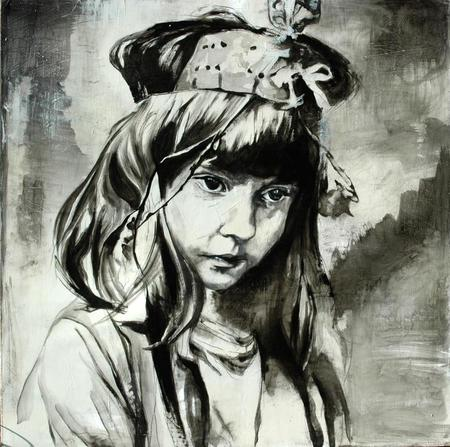 "Elizabeth Dyer 12"" X 12'' Commissioned Painting - Black and White"