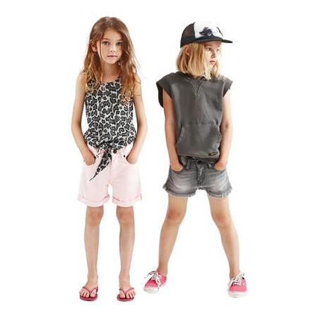 Kids Finger in the Nose Nove Woven 5 Pocket Denim Mini Shorts - Bleached Grey