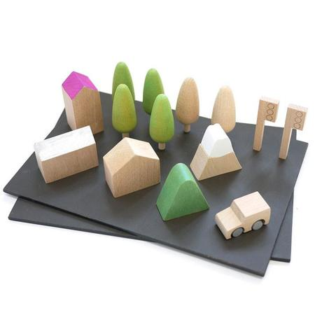Kids Kukkai Machi Wooden Town Play Set