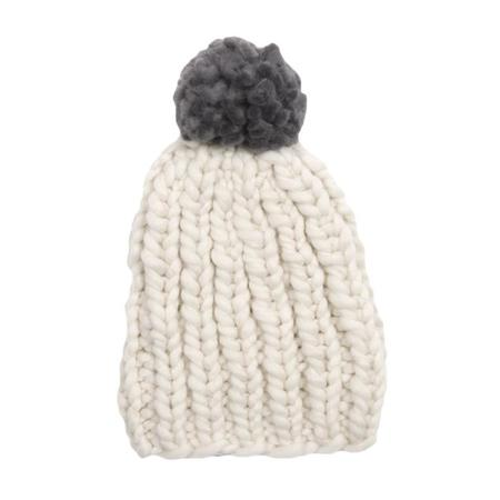Kids Loopy Mango Mini Pom Pom Hat - Polar Bear/Dorian Grey