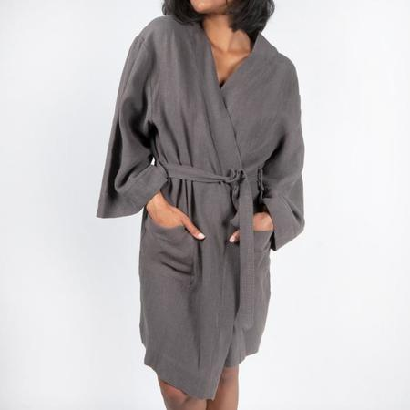 Moutmout Paris Linen Bathrobe - Charbon