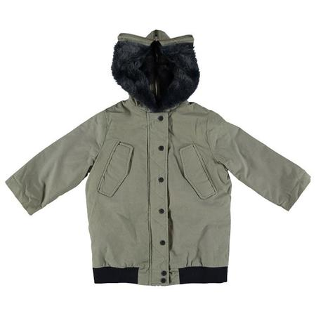 Kids Stella McCartney Dakota Oversized Jacket With Faux Fur Lining - Khaki