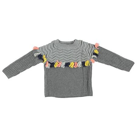 Kids Stella McCartney Tangerine Knit Sweater With Tassels - Grey