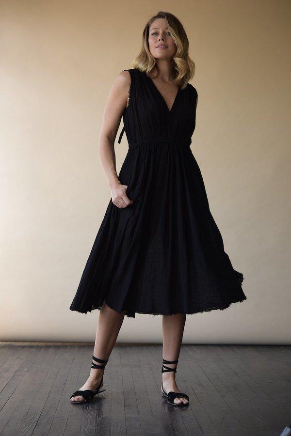 Raquel Allegra Black Gauze Desert Dress - Black