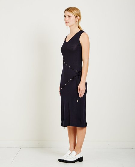 Carven CORD KNIT DRESS WITH DRAWSTRINGS - ABYSS BLUE