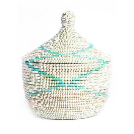 Swahili Modern Aqua Garland Large Storage Basket - White