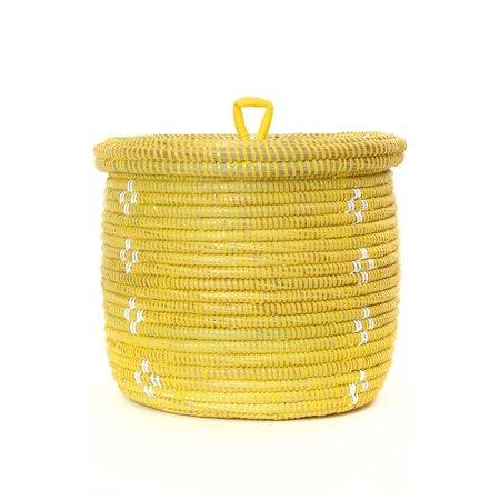 Swahili Modern White Blossom Lidded Basket Planter - Yellow