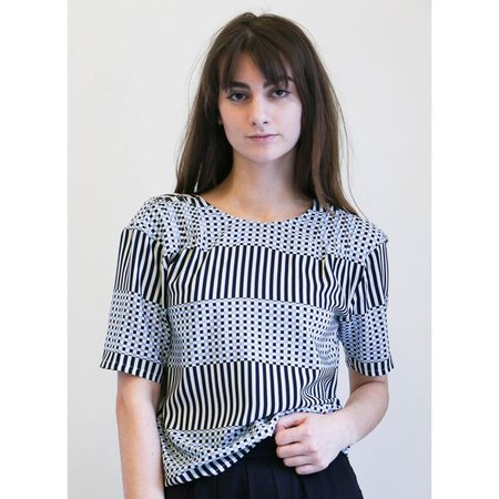 No.6 Isla Pleated Top - Blue & Black Checks and Balances