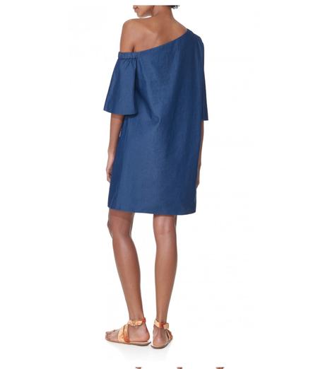 Tibi One Shoulder Dress - Denim