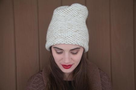 Ellen Seed Stitch Hat - Cream/Camel