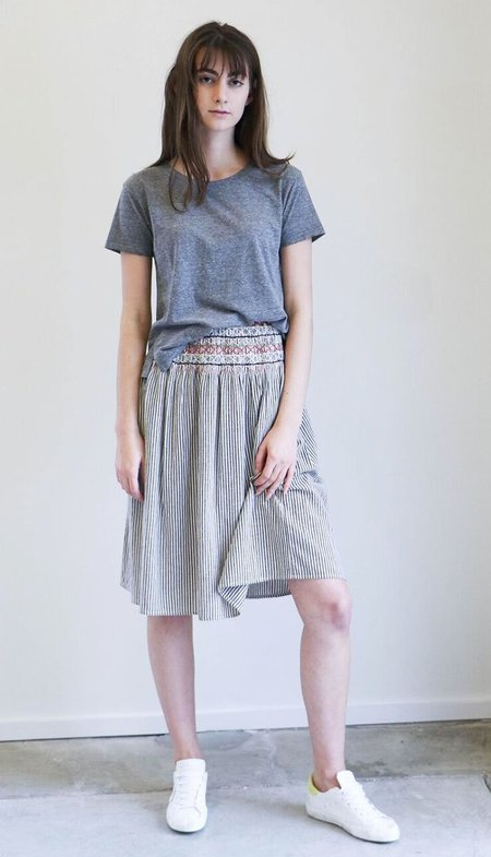 The Great. Vista Skirt - Rail Stripe with Embroidery