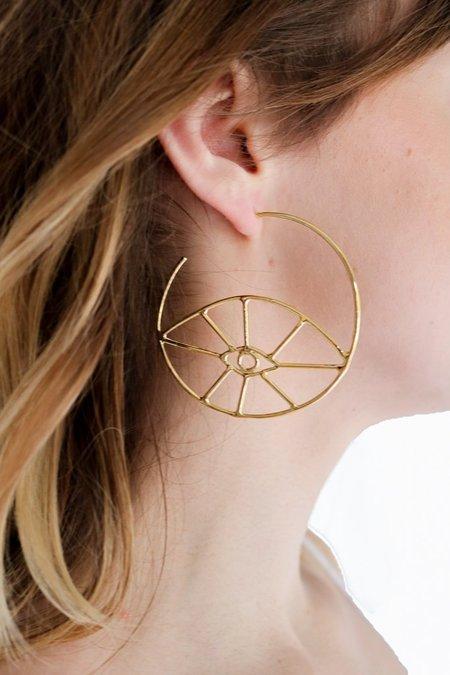 Nina Berenato Fortuna Eye Hoop Earrings - Gold