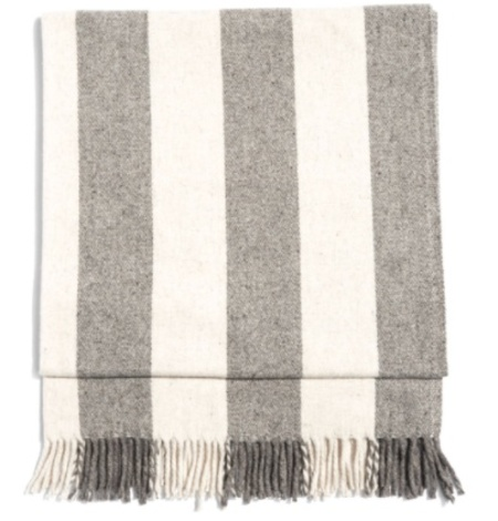 Mexchic Virgin Wool Traditional Mexican Blanket - Cream and Grey Stripe