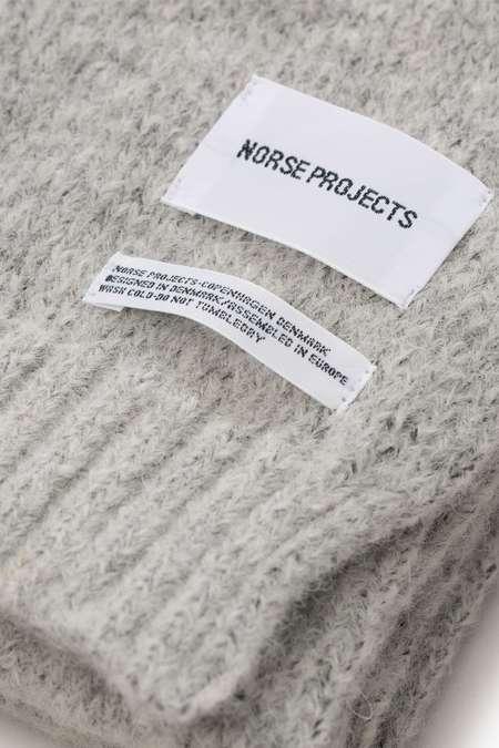 Unisex Norse Projects Brushed Scarf - Light Grey Melange