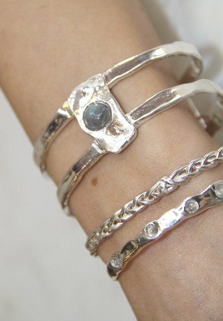 Ali Grace Moonstone Cuff Bracelet - SILVER