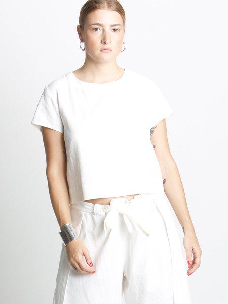 Beth Crosby Linen Tee - White