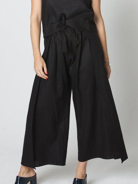 Beth Doric Linen Wrap Pant - Black