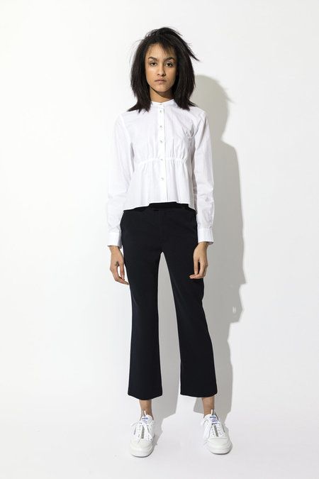 Pause. Albany Cropped Smocked Shirt - White