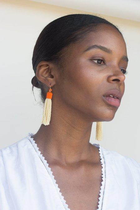 Zartiztry Two- Tone Tassel Earrings - Orange+ Nude