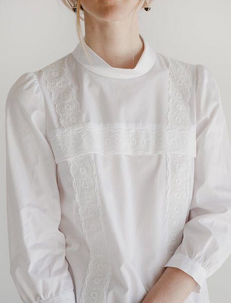 Comme des Garcons Tipped-In Lace Blouse - White