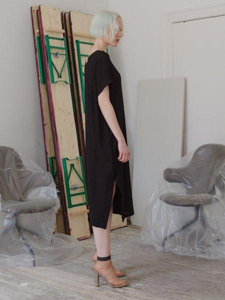Priory Shop Crinkle Rayon Tage Dress - Black