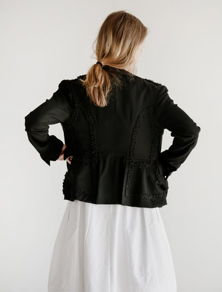 Comme des Garcons Round Collar Jacket with Ruffle Trim - Black