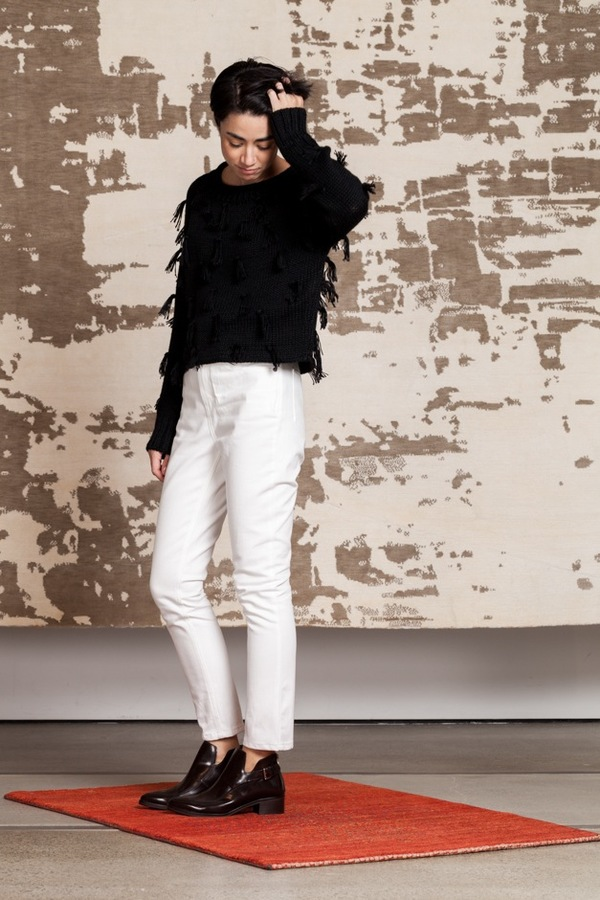 Apiece Apart Luluc Fringe Sweater | black