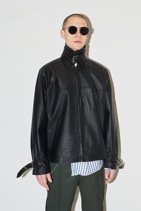 Assembly New York Leather Funnel Neck Jacket - Black
