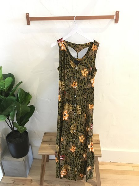 Vintage Gingerly Witty 1990s Lightweight Maxi Dress - Cheetah & Tropical Floral Print
