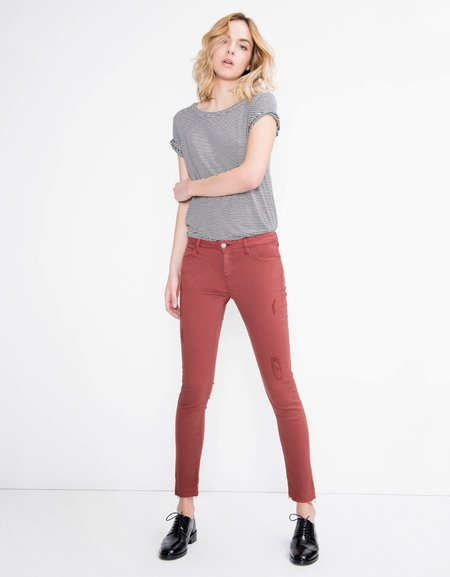 Reiko Colored Skinny Cropped Trousers Lily - Grenat Rose