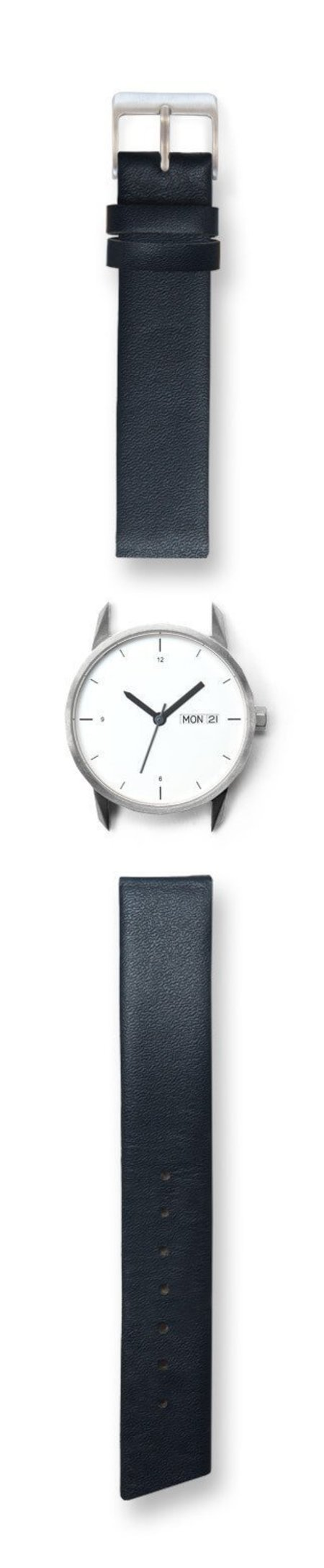 Unisex Tinker Watches 34mm Silver Watch Navy Quick-Release Strap