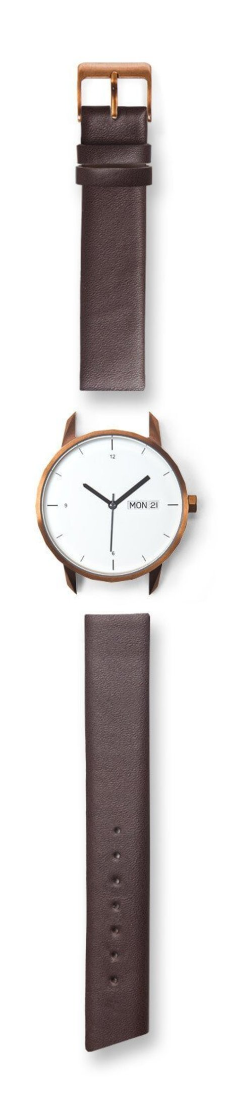 Unisex Tinker Watches 38mm Copper Watch Brown Italian Leather Strap