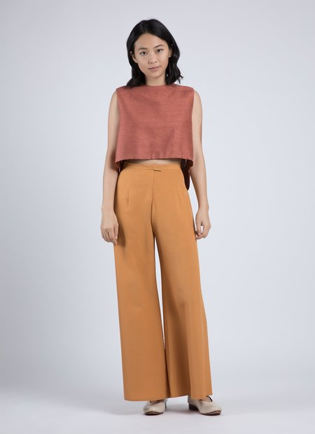 KAAREM Wind Chime Raised Collar Cropped Silk Top - Terracotta