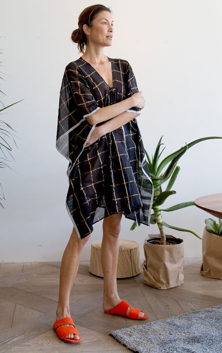 Two Short Caftan - Black and gold metallic grid