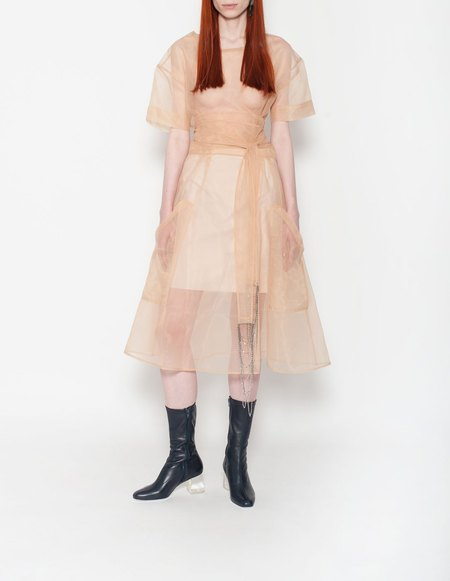 Wanda Nylon Tilly Organza Skirt  with Lining - Nude