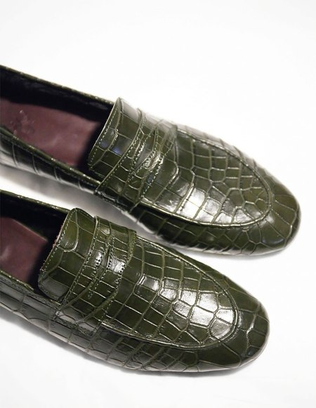Bougeotte Crocodile and Mink Fur Flaneur Loafer - Khaki