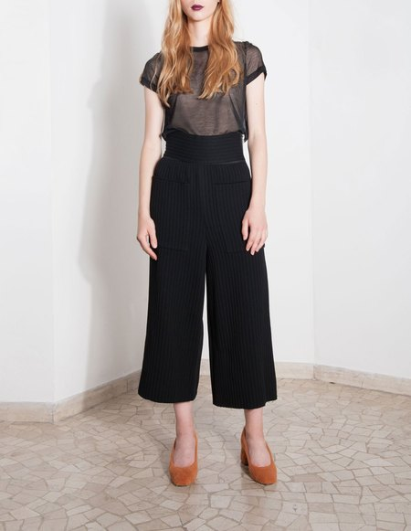 Ms Min Ribbed Wool Culotte - Black