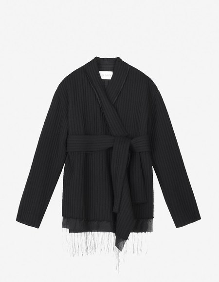 Ms Min Ribbed Wool Cardigan - Black